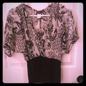 Tops - Black/White Floral Blouse NWOT